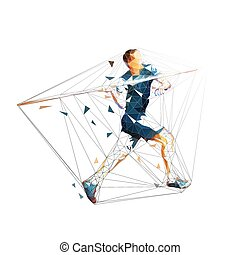 lançamento, jogar, atleta, isolado, polygonal, javelin, vetorial, geomã©´ricas, atletismo, illustration.