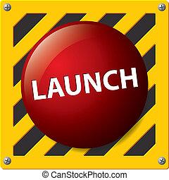 lançamento, vetorial, botão