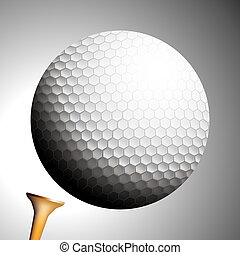 lançamentos, bola, golfe, desligado, tee