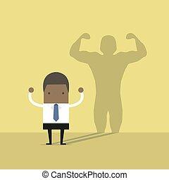 lançando, africano, homem negócios, forte, shadow., homem