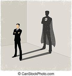 lançando, homem negócios, sombra, superhero