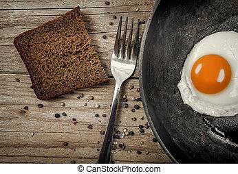 lançar, ovo fritado, panela, ferro