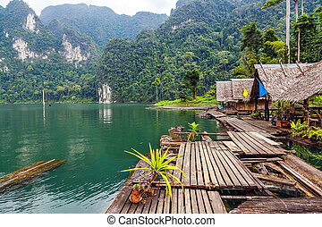 lan, by, insjö, thailand, cheo, flytande