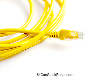 Yellow cable. Computer on a white background.