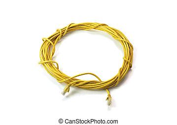 lan, kabel, isolerat, bakgrund, ethernet, vit