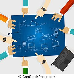 lan, local, área, red, diseño, arquitectura, ordenador el cable, conexión, cliente, servidor, icono, rúter