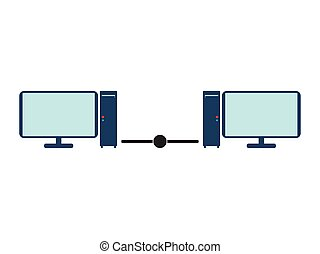 Lan network with two computers. Flat Vector illustration on white background.