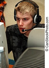 Lan party. - A young adult attending a lan party.