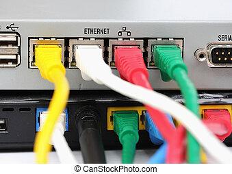 lan, zurück, utp, router., verbinden, ethernet hafen