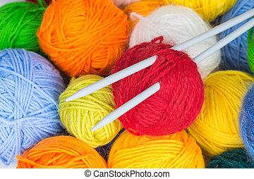 lana, agujas, pelotas, tejido de punto, hilo