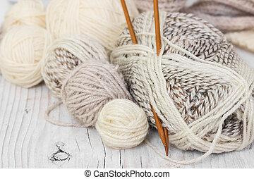 lana, agujas, tejido de punto, hilo, skeins