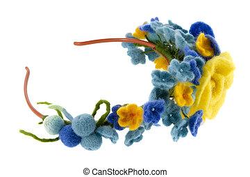 lana, azul, rosas, amarillo, hecho, hermoso