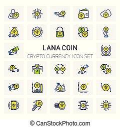 LANA Coin Crypto icons set