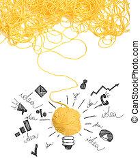 lana, concepto,  idea, Pelota, innovación