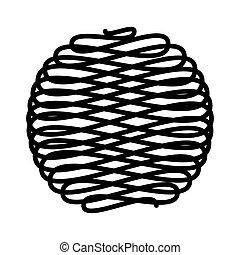lana, pelota, aislado, icono