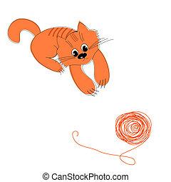lana, pelota, feliz, rojo, gato