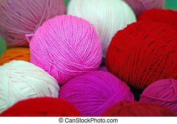 lana, pelota, hilo
