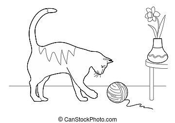 lana, pelota, juego, gato