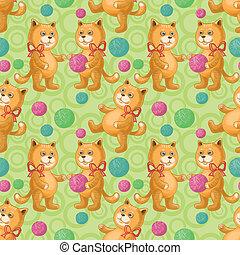 lana, seamless, pelota, hilo, gato