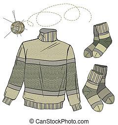 lana, suéter, y, calcetines