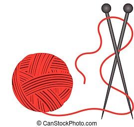 lana, tejido de punto, pelota roja