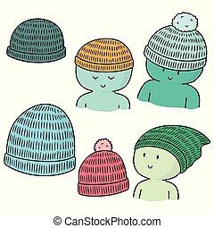 lana, vector, conjunto, sombrero