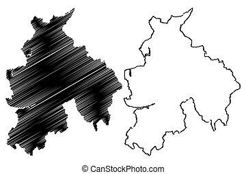 Lancashire (United Kingdom, England, Non-metropolitan county, shire county) map vector illustration, scribble sketch Lancs. map
