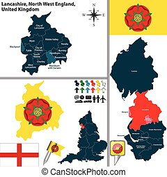 Vector map of Lancashire in North West England, United Kingdom with regions and flags