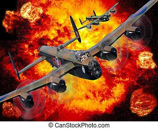 lancaster, bombardeiro, corrida, bombardeio