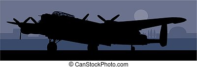 Lancaster bomber - A silhouette image of a lancaster bomber...