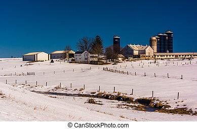 lancaster, zima, zagroda, hrabstwo, pennsylvania., wiejski, prospekt
