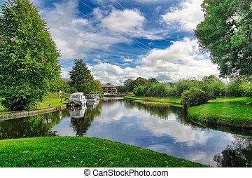 lancaster, zomer, canal., scène, vredig