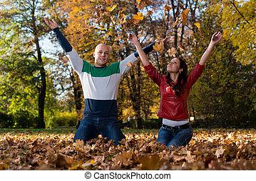 lance, par, parque, outono sai, amando