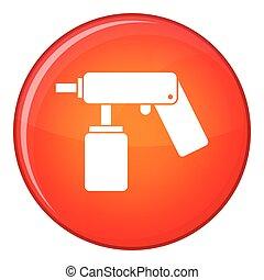 lance, pulvérisation, boîte aérosol, bouteille, icône