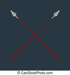 Lance tool two crossed ancient spears flat vector