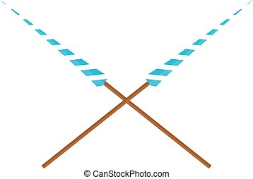Lance vector illustration. - Two crossed lances wooden...
