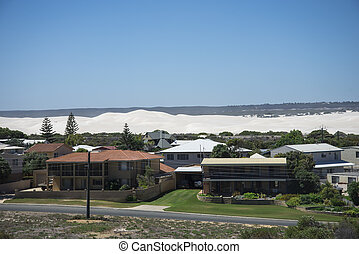 Lancelin sand dunes view from town
