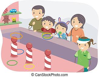 lancement, anneau, stickman, famille