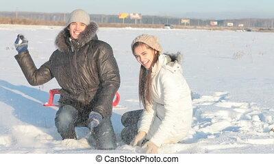 lancement, couple, neige