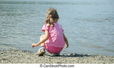 lancement, eau, pierres, petite fille