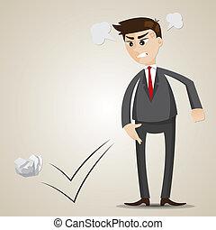 lancement, fâché, dessin animé, papier, homme affaires, froisser