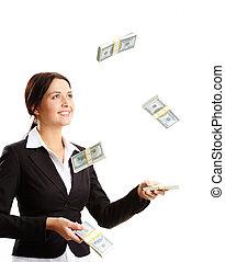 lancement, factures, dollar, haut