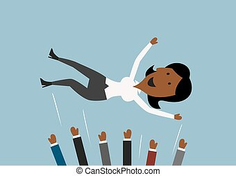 lancement, femme affaires, businessteam, air