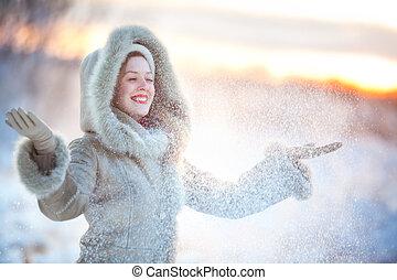 lancement, femme, haut, neige