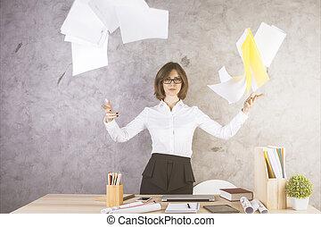 lancement, femme, papiers