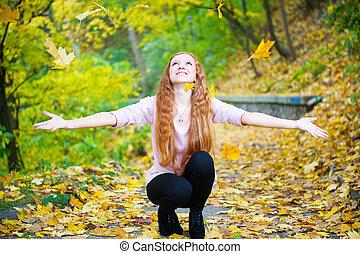 lancement, feuilles, parc, automne, roux, girl