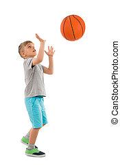 lancement, garçon, basket-ball