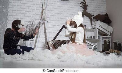 lancement, garçon, girl, neige, séance