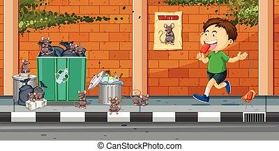lancement, garçon, rue, déchets ménagers
