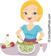 lancement, girl, végétarien, salade